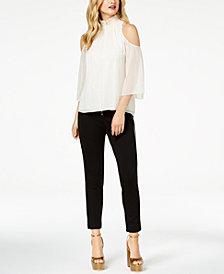 Zoe by Rachel Zoe Cold-Shoulder Top, Skinny Pants & Claire Platform Dress Sandals, Created For Macy's