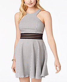 City Studios Juniors' Mesh-Waist Fit & Flare Dress