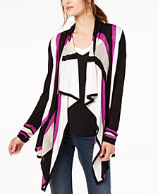 I.N.C. Colorblocked Cozy Open-Front Cardigan, Created for Macy's