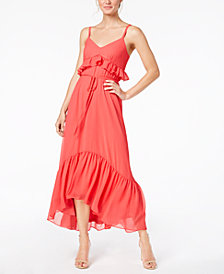 Calvin Klein Ruffled Chiffon Maxi Dress