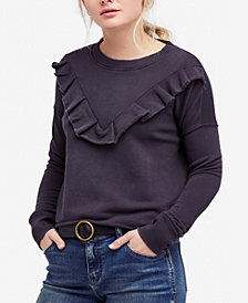 Free People Ooh La Cotton Ruffled Sweatshirt