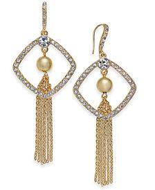 I.N.C. Gold-Tone Crystal, Ball & Chain Tassel Drop Earrings, Created for Macy's