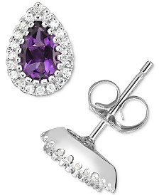 Amethyst (3/4 ct. t.w.) & Diamond (1/8 ct. t.w.) Teardrop Stud Earrings in 14k White Gold