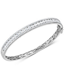 Cubic Zirconia Bangle Bracelet in Sterling Silver
