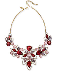 "I.N.C. Gold-Tone Crystal & Stone Statement Necklace, 18"" + 3"" extender, Created for Macy's"