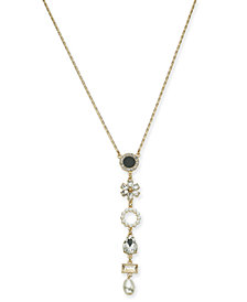 "I.N.C. Gold-Tone Crystal, Stone & Imitation Pearl Lariat Necklace, 28"" + 3"" extender, Created for Macy's"