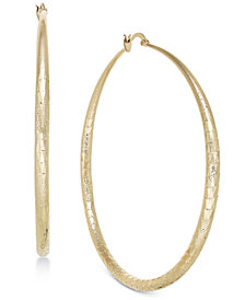 "Thalia Sodi Gold-Tone Textured Extra Large 3"" Hoop Earrings, Created for Macy's"