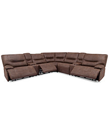 Felyx 7-Pc. Fabric Sectional Sofa With 3 Power Recliners, Power Headrests, 2 Consoles And USB Power Outlet