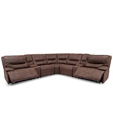 """Felyx 133"""" 7-Pc. Fabric Sectional Sofa With 2 Power Recliners, Power Headrests, 2 Consoles And USB Power Outlet"""