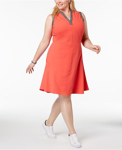 Tommy Hilfiger Plus Size Striped-Trim Dress, Created for Macy\'s ...