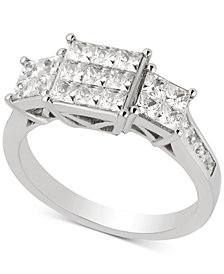 Diamond Princess Cluster Engagement Ring (1-1/2 ct. t.w.) in 14k White Gold