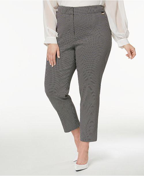 bca971ce3ced6 Calvin Klein Plus Size Printed Skinny Pants - Pants - Plus Sizes ...