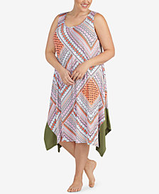 Ellen Tracy Plus Size Asymmetrical-Hem Nightgown