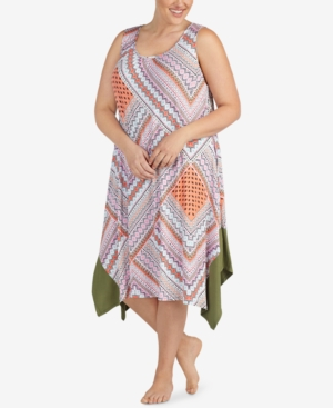 Ellen Tracy PLUS SIZE ASYMMETRICAL-HEM NIGHTGOWN