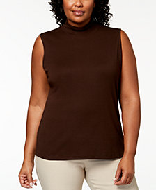 Karen Scott Plus-Size Sleeveless Mock-Neck Top, Created for Macy's