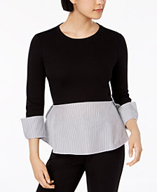Maison Jules Cotton Layered-Look Top, Created for Macy's