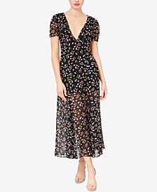 Betsey Johnson Deep-V Cherry-Print Maxi Dress