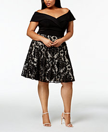 XSCAPE Plus Size Off-The-Shoulder A-Line Dress