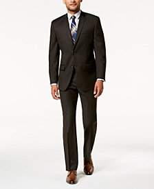 Marc New York by Andrew Marc Men's Modern-Fit Stretch Brown Solid Suit