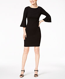 Calvin Klein Petite Faux-Pearl Bell-Sleeve Dress