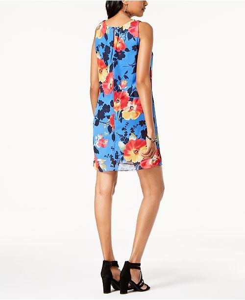 Robbie Chiffon Petite Blue Dress Multi Bee Floral SrSwqP0