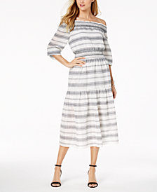 Vince Camuto Cotton Smocked Off-The-Shoulder Midi Dress