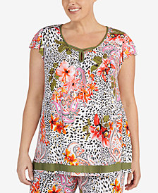 Ellen Tracy Plus Size Floral-Print Flutter-Sleeve Pajama Top
