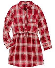 Tommy Hilfiger Big Girls Tie-Front Plaid Shirtdress