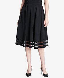 Calvin Klein Illusion-Trim A-Line Skirt