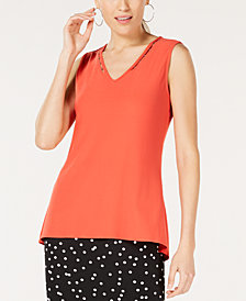 Alfani Petite Embellished V-Neck Top, Created for Macy's