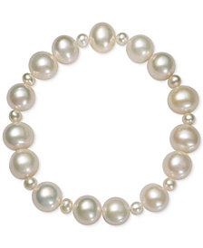 Belle de Mer Cultured Freshwater Pearl (4mm, 9-1/2mm) Stretch Bracelet