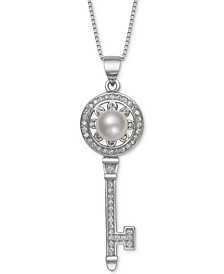 "Cultured Freshwater Pearl (7mm) & Cubic Zirconia Key 18"" Pendant Necklace in Sterling Silver"