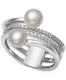 Cultured Freshwater Pearl (6mm) & Cubic Zirconia Coil Ring in Sterling Silver