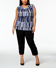 Nine West Plus Size Draped Shell & Slim-Leg Pants