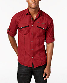 I.N.C. Men's Textured Utility Shirt, Created for Macy's