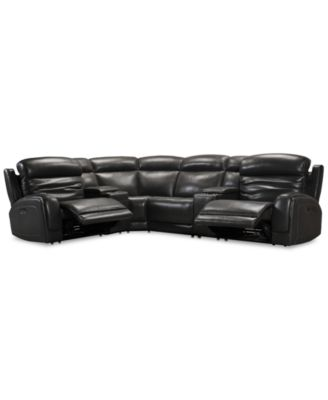 Winterton 6-Pc. Leather Sectional Sofa With 2 Power Recliners, Power Headrests, Lumbar, 2 Consoles And USB Power Outlet