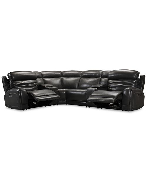 Surprising Winterton 6 Pc Leather Sectional Sofa With 2 Power Recliners Power Headrests Lumbar 2 Consoles And Usb Power Outlet Gmtry Best Dining Table And Chair Ideas Images Gmtryco