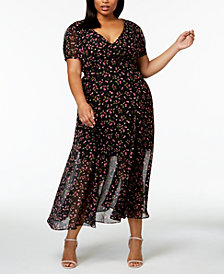 Betsey Johnson Plus Size Printed Deep-V Maxi Dress