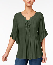 Style & Co Petite Pintucked Peasant Top, Created for Macy's