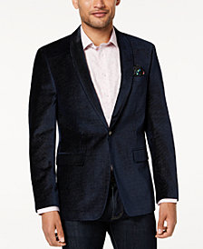 Tallia Orange Men's Slim-Fit Navy Pindot Velvet Sport Coat