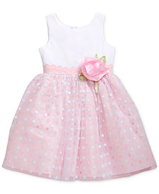 Sweet Heart Rose Little Girls Glitter-Dot Mesh Dress