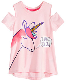 Happy Threads Little Girls Cold Shoulder Unicorn T-Shirt