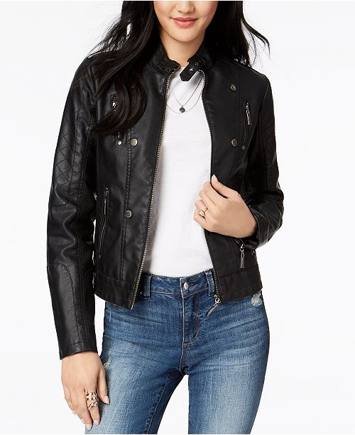search for authentic hot products large assortment Juniors' Faux-Leather Jacket, Created for Macy's