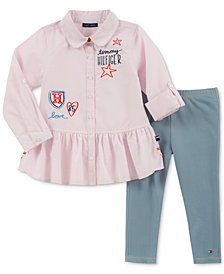 Tommy Hilfiger Toddler Girls 2-Pc. Embroidered Shirt & Denim Leggings Set
