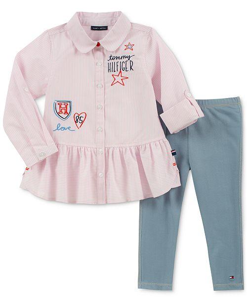 5eabaf3f8 Tommy Hilfiger Toddler Girls 2-Pc. Embroidered Shirt & Denim Leggings Set