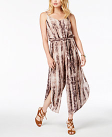 American Rag Juniors' Tie-Dye Split-Leg Jumpsuit, Created for Macy's
