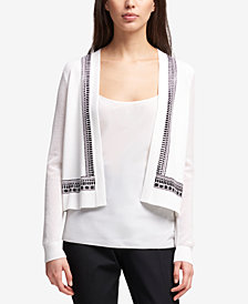 DKNY Studded Mesh-Sleeve Cardigan, Created for Macy's