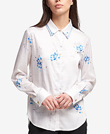 DKNY Double-Collar Printed Top, Created for Macy's