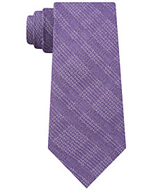 DKNY Men's Plaid Grid Contrast Slim Tie