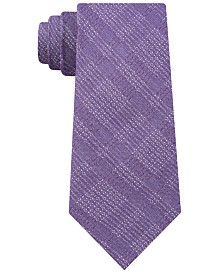DKNY Men's Plaid Grid Contrast Slim Tie